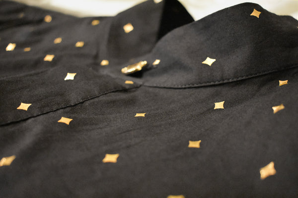 RAYMAN Diamond Cotton Shirt in Black and Gold - Detail View - Harleen Kaur - Modern Indian Menswear