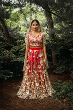 SANYA Sequin Embroidered Lengha Top - Front View - Harleen Kaur Womenswear - Sample Sale