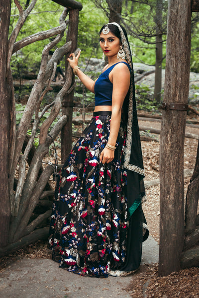 NEELA Floral Sequin Skirt - Side View - Harleen Kaur - Ethically Made Womenswear