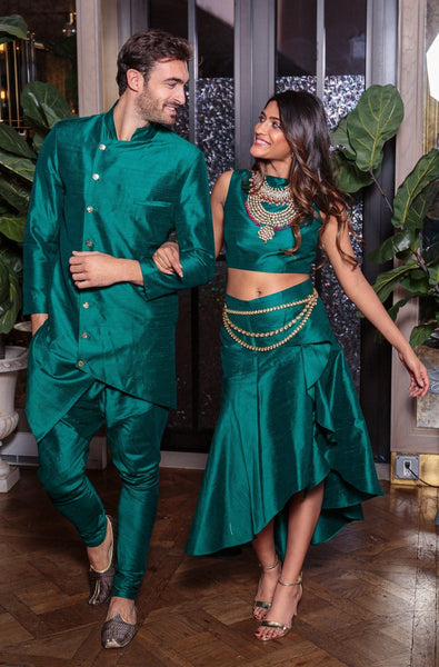 CHIARA Silk Skirt in Evergreen - Front View - Harleen Kaur - Modern Indian Womenswear