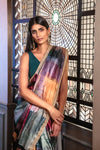 SERENA Multicolor Satin Sari - Front View - Harleen Kaur - South Asian Womenswear