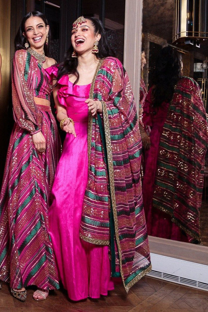 Pink and Green Striped Sequin Dupatta - Front View - Harleen Kaur Indian Womenswear