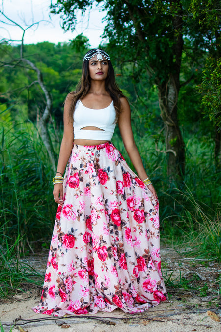 ANISHA Multi-Floral Satin Skirt