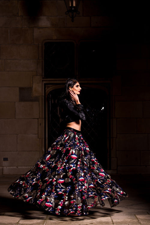 NEELA Black Floral Sequin Skirt - Side View - Harleen Kaur