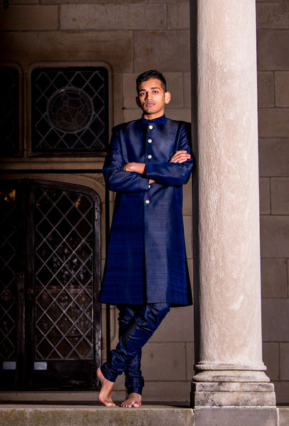 ARUN Silk Sherwani Jacket in Navy - HARLEEN KAUR - Ethically Made Menswear