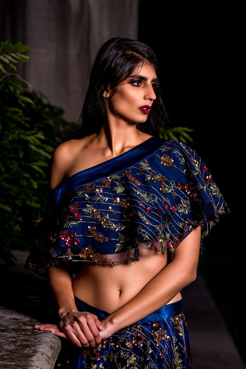 DINA Falling Sequin Embroidered Floral Top in Navy - Front View - Harleen Kaur Womenswear - Sample Sale
