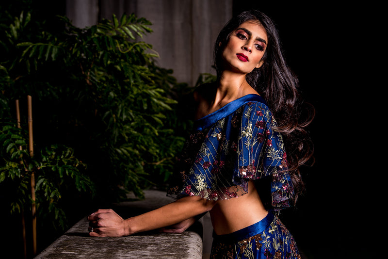 DINA Falling Sequin Embroidered Floral Top in Navy - HARLEEN KAUR