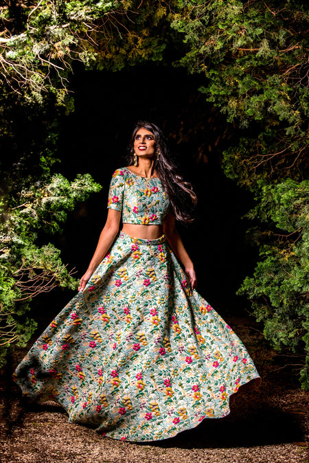 Last In Stock // ANEELA Dark Floral Lehenga Skirt