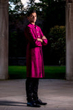 ARUN Silk Sherwani Jacket in Wine - HARLEEN KAUR - Indian Menswear