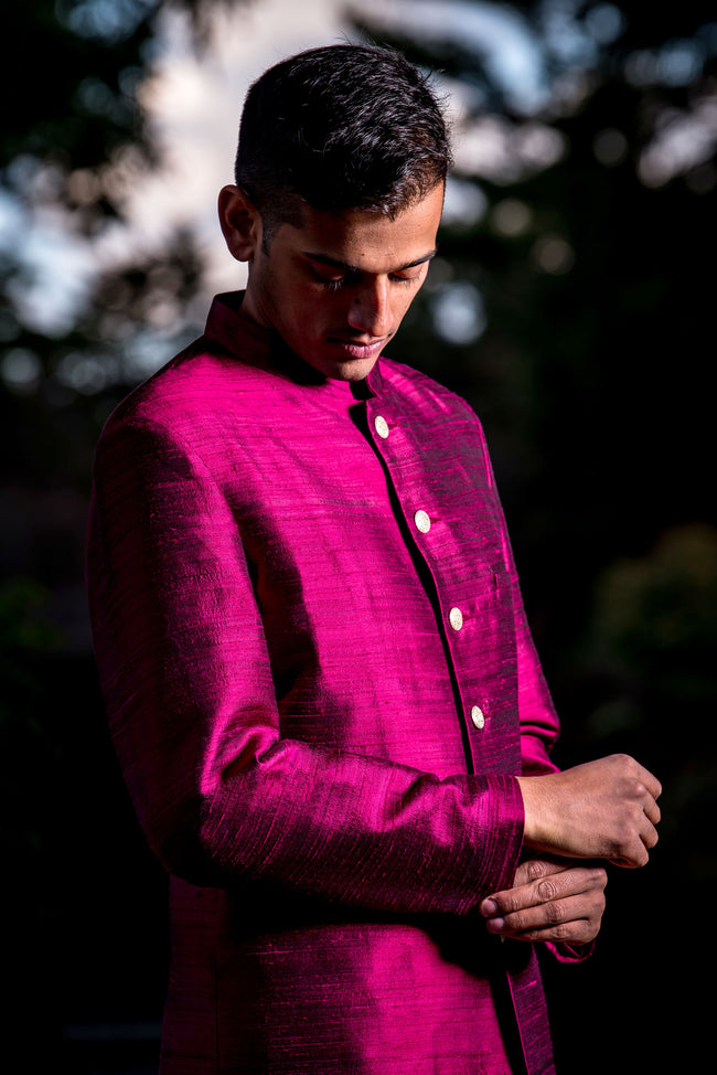 ARUN Silk Sherwani Jacket in Wine - HARLEEN KAUR - South Asian Menswear