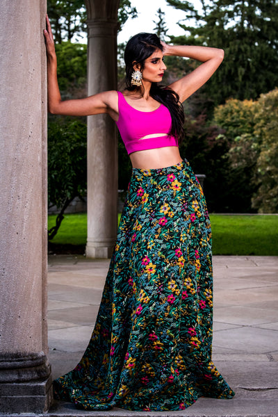 SIMAR magenta crop top with minimal cutouts | HARLEEN KAUR
