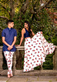 TASHA Tulip Print Twill Skirt and Sonia Navy Silk Top - HARLEEN KAUR