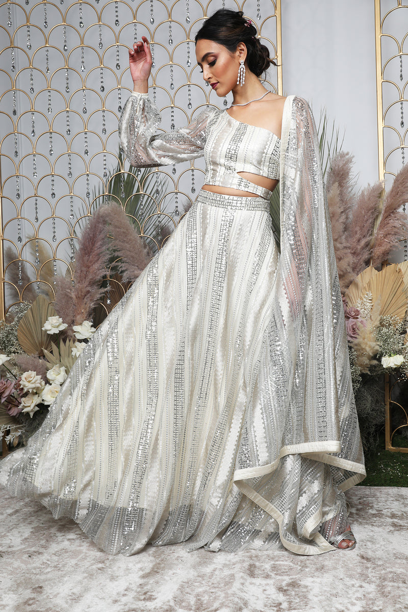 REYA White and Silver Sequin Dupatta