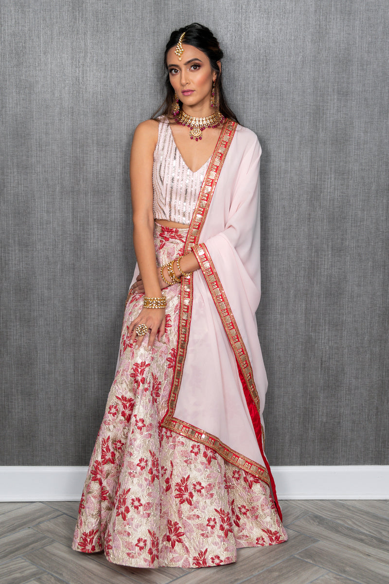MABEL Red and Pink Dupatta