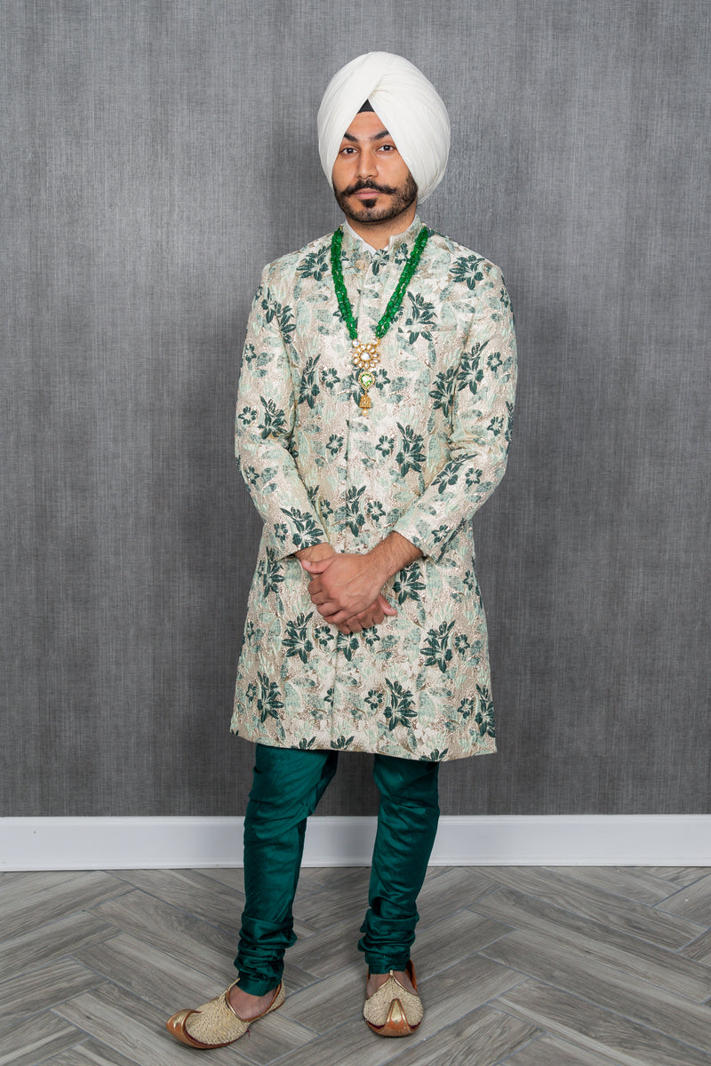 JEEVAT Mint and Green Sherwani Jacket