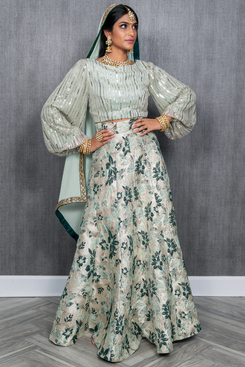 AVNI Green and Mint Floral Jacquard Skirt