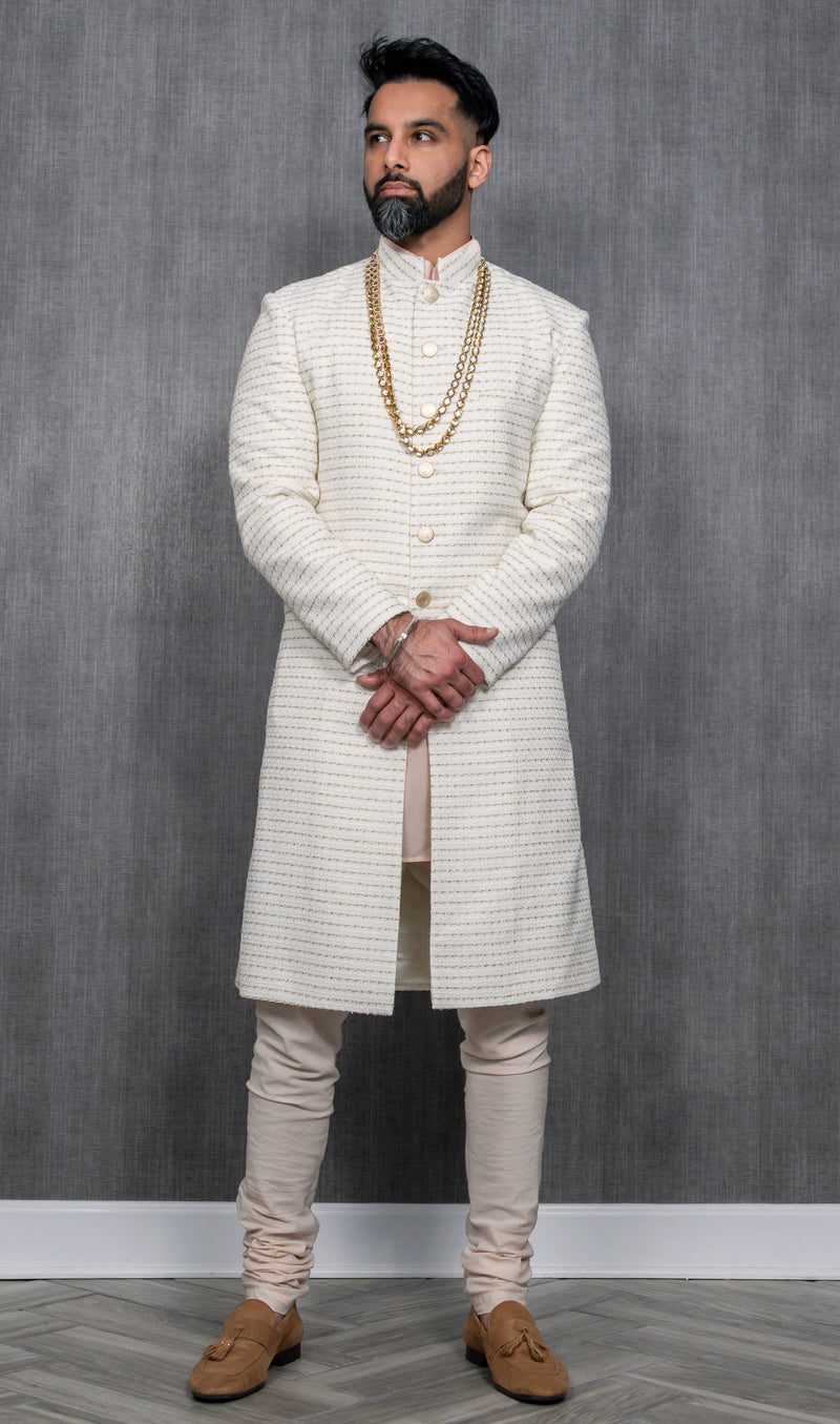 SANJAY White and Gold Sherwani Jacket