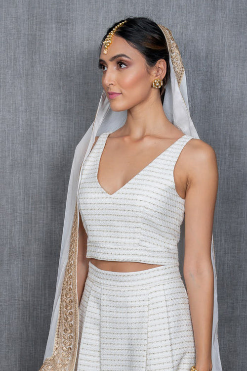 NADIA Tweed Lehenga Top