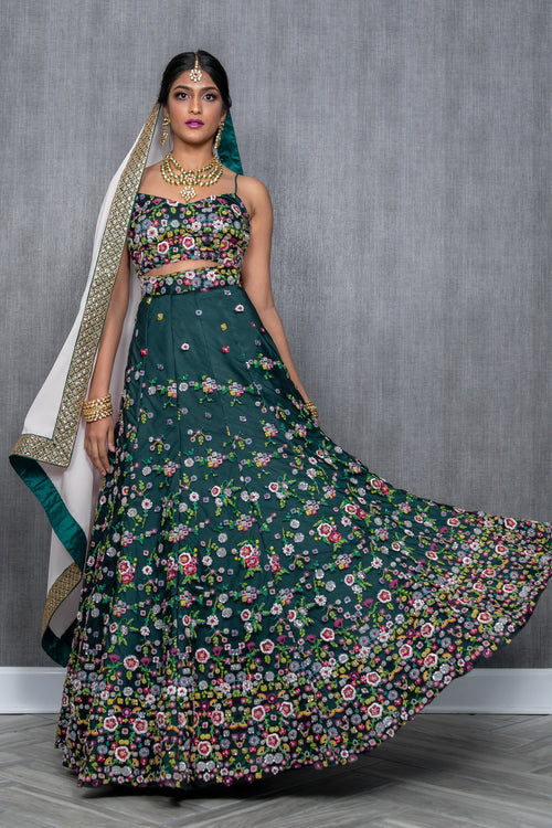 Panna Floral Embroidered Indian Bridal Lehenga - Forest Green - Harleen Kaur