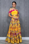 Yellow Deepti Sequin Floral Lehenga Skirt - Front View - Harleen Kaur Wedding 2021