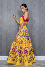 Deepti Sequin Floral Lehenga Skirt - Side View - Harleen Kaur Wedding 2021
