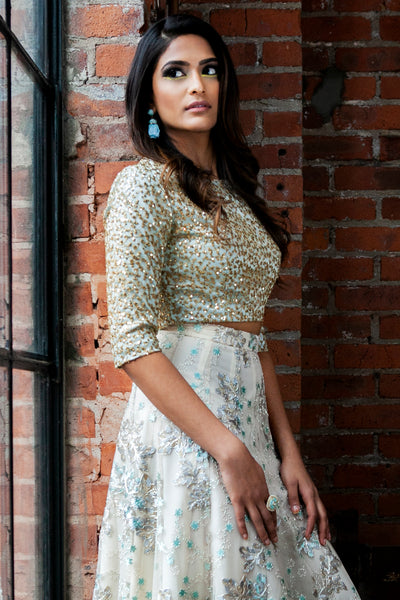 ANOOR Gold Embroidered Top - Side View - Harleen Kaur - Indian Womenswear