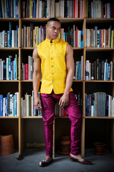 KONA Yellow Diamond Jacquard Vest