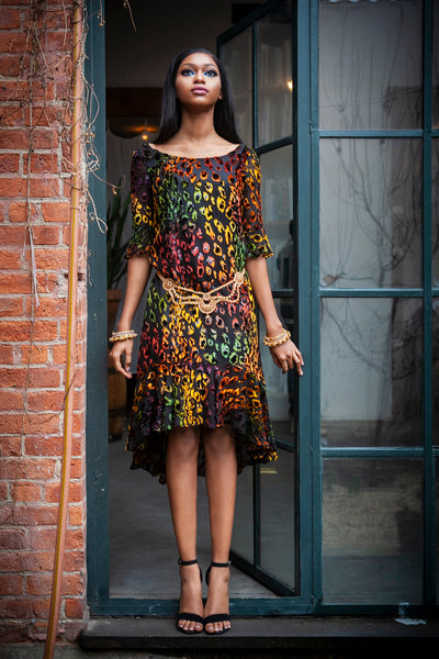 LOLA Leopard Burnout Dress - Front View - Harleen Kaur - South Asian Womenswear