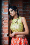 MONICA Gold Sequin Embroidered Crop Top with Minimal Cutout in Lime Green- Front View - Harleen Kaur