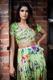 RIVA Lime Top with Gold Sequins - Harleen Kaur - Front View