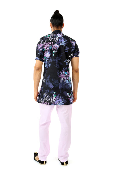 Harleen Kaur Mens Short Sleeve Cotton Kurta in Black and Purple Floral Print - Back View