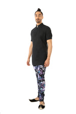 Harleen Kaur Rayman Short Sleeve Cotton Kurta - Black Side View