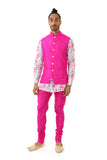 Harleen Kaur Men's Arjun Silk Vest in Fuchsia with Gold Buttons and Piped Mandarin Collar - Front View