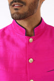 Harleen Kaur Men's Arjun Silk Vest in Fuchsia with Gold Buttons and Piped Mandarin Collar - Front Detail View