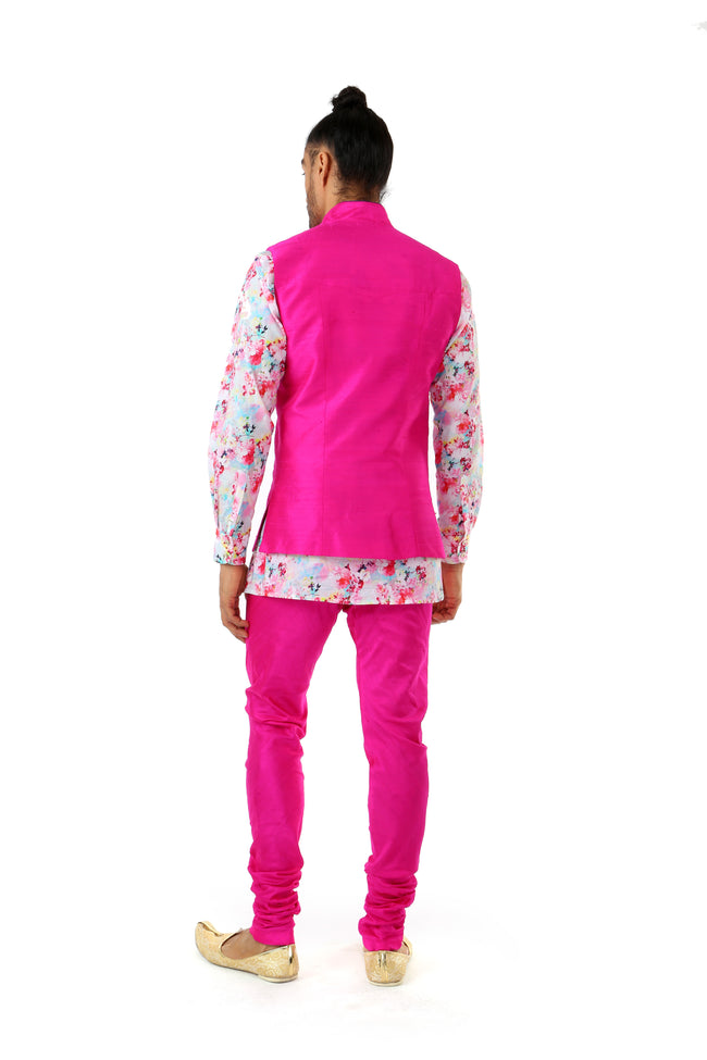 Arjun Men's Fuchsia Silk Vest with Gold Buttons - Back View - Harleen Kaur - Indian Menswear