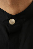 Harleen Kaur Rayman Short Sleeve Cotton Kurta - Gold Button Detail Front View