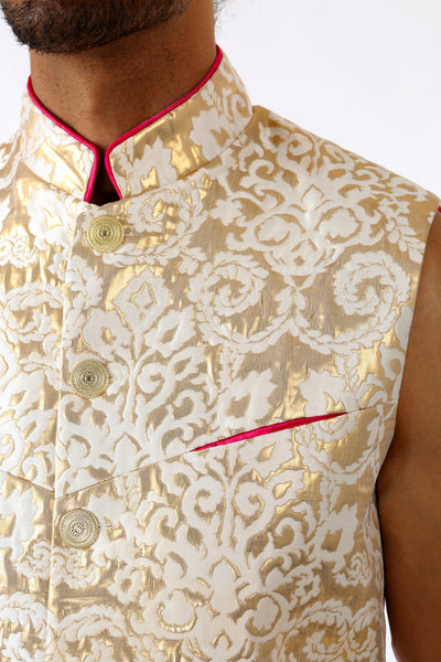 Harleen Kaur ARJUN Gold Vest with Gold Buttons and Pink Piped Mandarin Collar - Front Chest Pocket Detail View