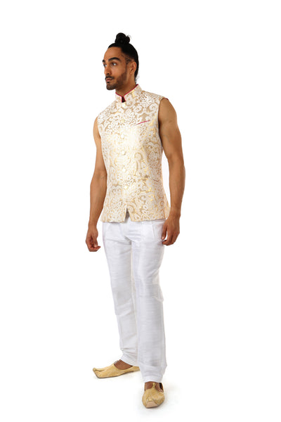Harleen Kaur ARJUN Gold Vest with Piped Mandarin Collar - Side View