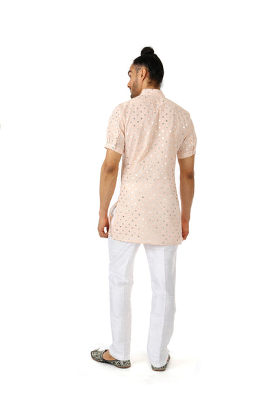 RAYMAN peach cotton kurta with metallic polka-hearts | HARLEEN KAUR