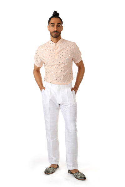 Harleen Kaur TONY Mens Pants in White with Pockets - Front View
