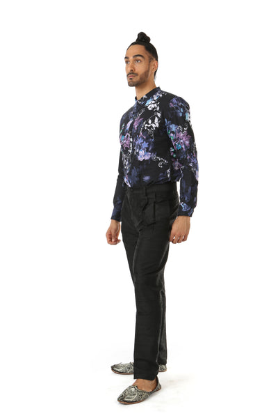 Harleen Kaur TONY Mens Pants in Black with Pockets - Side View