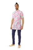 Harleen Kaur RAYMAN Pink Floral Print on White Cotton Short Sleeve Kurta - Front View
