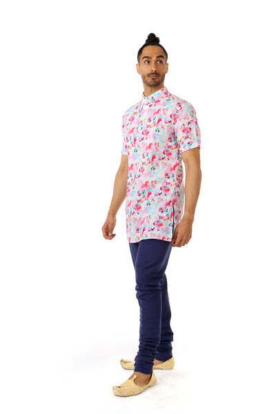 Harleen Kaur Mens Floral Print Cotton Kurta - Side View