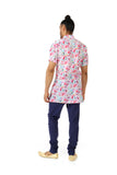 Harleen Kaur Mens Short Sleeve Cotton Kurta in White Floral Print - Back View