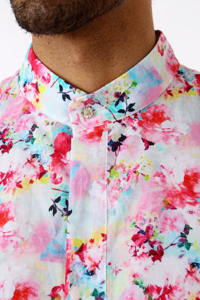 Harleen Kaur Mens Short Sleeve Cotton Kurta in Strawberry Floral Sprinkles - Front Detail View