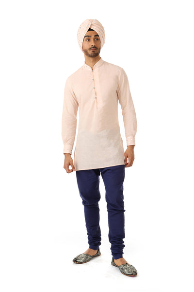 SUMEET Mens Cotton Long Sleeve Kurta in Peach/Silver Hearts | HARLEEN KAUR