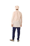 SUMEET Mens Cotton Short Kurta in Peach/Silver with Long Sleeves | HARLEEN KAUR