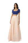 RIVA blue stretch woven crop top | HARLEEN KAUR