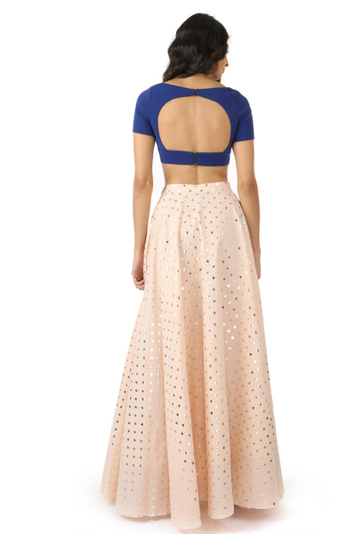 RIVA blue stretch woven lehenga crop top with open back | HARLEEN KAUR