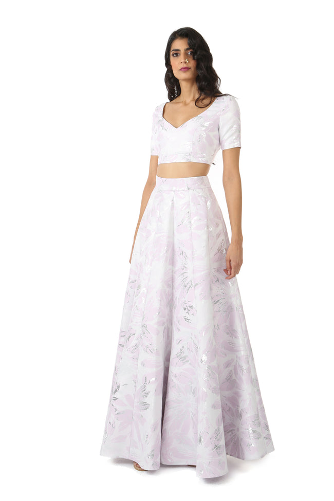 Harleen Kaur SANYA Short Sleeve Lehenga Crop Top in Lavender Jacquard - Front View